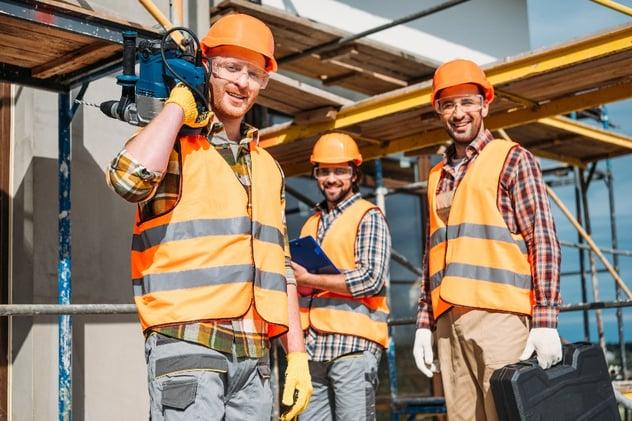 hard hat group of builders