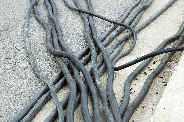 Service cables on concrete