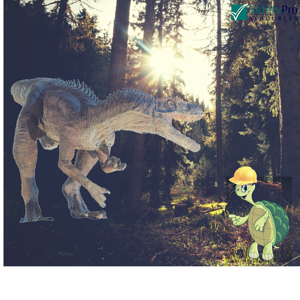 Archaic Safety Myths: image dinosaur with the SafetyPro Resources Turtle